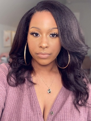 360 Lace Wig With Silk Top Italian Yaki Indian Remy Human Hair [TLW04]