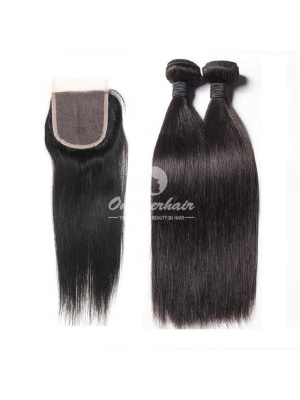 Peruvian Virgin Hair Silky Straight 2pcs Bundles Weaves With A Lace Closure [WPS20]
