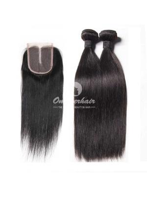Peruvian Virgin Hair Weave Silky Straight 4x4'' Middle Part Lace Closure With 2pcs Bundles [WPS21]