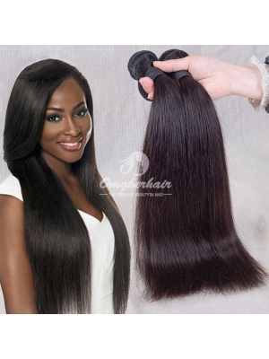 Indian Remy Hair Weaves Silky Straight 2pcs Bundles Natural Color [IS02]