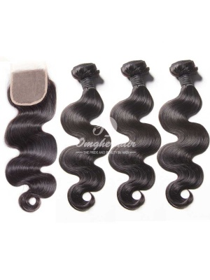 Peruvian Virgin Hair Weaves Body Wave 3pcs Bundles With A Lace Closure [WPB30]