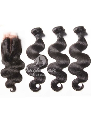 Peruvian Virgin Hair Weaves Body Wave 4x4'' Middle Part Lace Closure With 3pcs Bundles [WPB31]