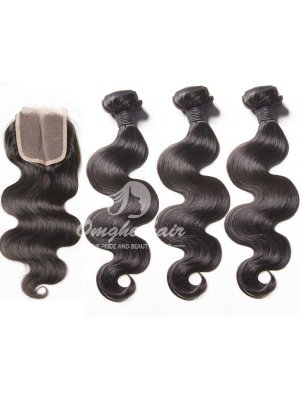 Body Wave Virgin Peruvian Hair Weaves 3.5x4'' Middle Part Lace Closure With 3pcs Bundles [WPB32]