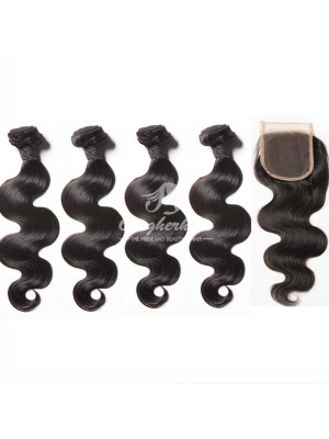 Peruvian Virgin Hair Body Wave 4pcs Bundles With A Lace Closure [WPB40]