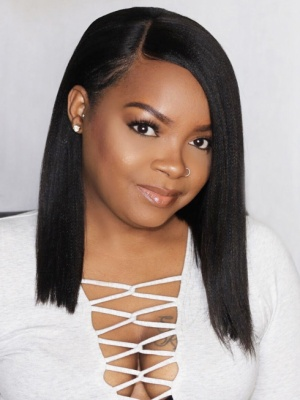 Pre-Plucked Relaxed Light Yaki Bob Style Lace Wig Brazilian Virgin Hair [BOB05]