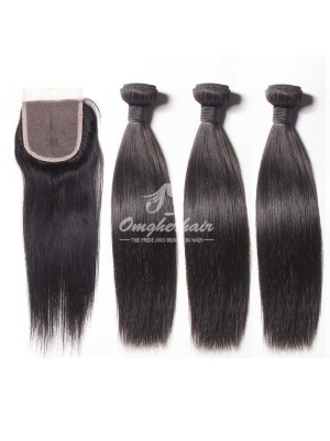 Peruvian Virgin Hair Silky Straight 3pcs Bundles Weaves With A Lace Closure [WPS30]