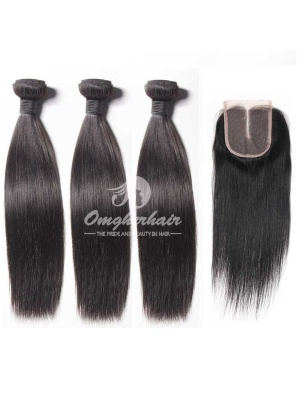 Peruvian Virgin Hair Silky Straight 4X4inches Middle Part Lace Closure With 3pcs Bundles [WPS31]