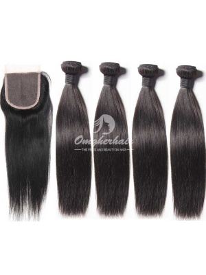 Silky Straight Virgin Peruvian Hair Weaves 4pcs/lot With A lace Closure [WPS40]
