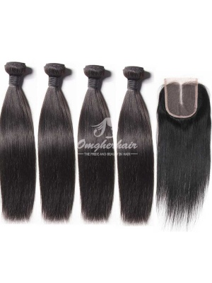 4x4'' Middle Part Lace Closure With Virgin Peruvian Hair Bundles Silky Straight 5pcs/lot [WPS41]