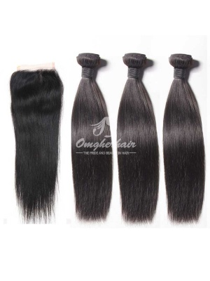 Peruvian Virgin Hair Silky Straight 4X4inches No Part Lace Closure With 3pcs Bundles [WPS35]