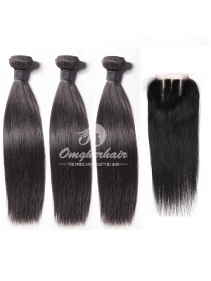 Peruvian Virgin Hair 4x4'' Three Part Lace Closure With Bundles 4pcs Weaves [WPS33]