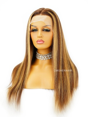 6 Inch Deep Parting 180% Density Highlight Ombre Brown Silky Straight Transparent lace Wig [CHANEL]
