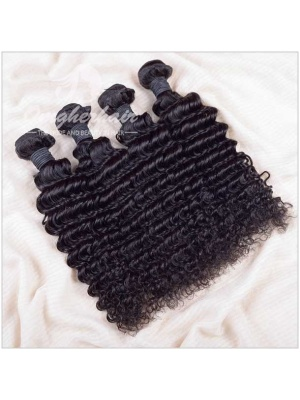 Indian Remy Hair Weaves Deep Wave Natural Color 4pcs Bundles [ID04]
