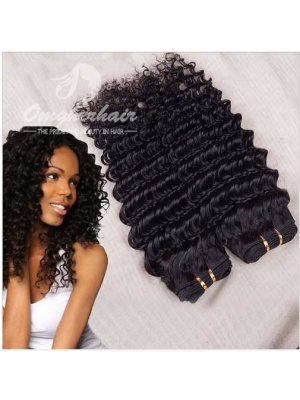 Indian Remy Hair Weaves Deep Wave 2pcs Bundles Natural Color [ID02]