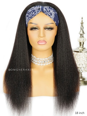 130% Density Blowout Kinky Straight Headband Wig Indian Remy Hair[HBS01]