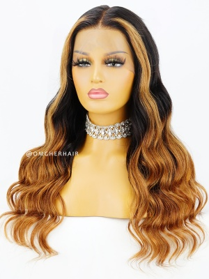 Black and Honey Blonde Highlight 360 Lace Frontal Wig Pre-Plucked & Pre-Colored [CLW12]