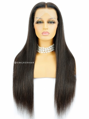 Silky Straight Indian Remy Human Hair 360 Lace Wig Pre-Plucked Hairline [CLW01]