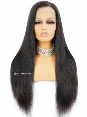 [US Stock]Silky Straight Indian Remy Human Hair 360 Lace Wig Pre-Plucked Hairline [CLW01US]