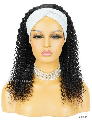 Natural Black Water Curl Headband Wig [HBW08]