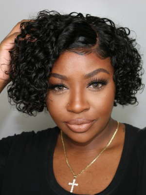 180% Density Pre-Plucked Hairline Short Curly Bob Wig W/C-Parting [Ashley010]