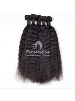 Peruvian Virgin Hair Weave Kinky Straight Natural Color 2pcs Bundles [PKS02]
