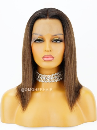 Special Offer- 12 Inch Ombre Light Yaki Bob 150% Density Lace Wig Indian Remy Hair[CBW09]