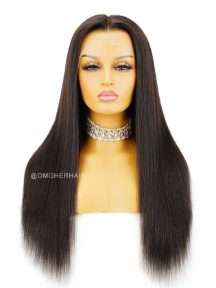 Super Fine HD Lace Relaxed YaKi 13X6 Lace Wig Pre-Plucked & Pre-Bleached [HDW03]