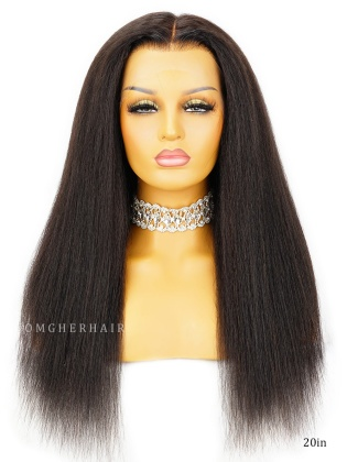 Invisible HD Lace Kinky Straight 13x6 Frontal Wig Natural Clean Hairline & Bleached Knots [HDW04]