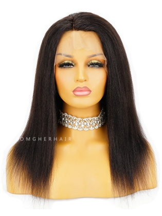 Special Offer-14 Inch Knotless Scalp Silk Base 360 Lace Wig Italian Yaki Blowout Style [CBW14]