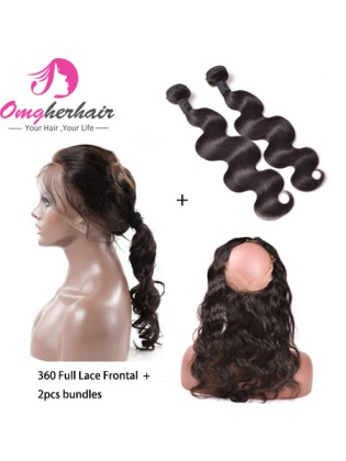 360 Lace Frontal Closure With Bundles Indian Remy Hair Body Wave Pre-Plucked Hairline [WFB02]