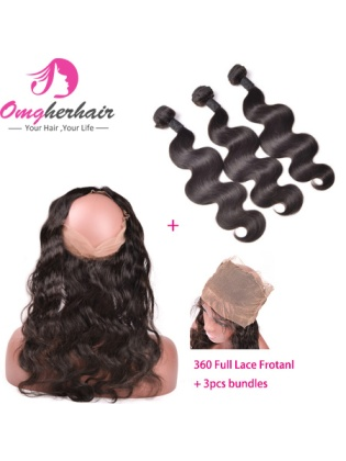 360 Full Lace Frontal Closure With Bundles Body Wave Indian Remy Human Hair Bleached Knots [WFB03]