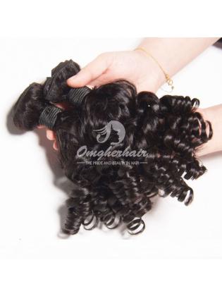 Peruvian Virgin Hair Funmi Hair Weaves Bouncy Curl 2pcs Bundles Natural Color [PFB02]