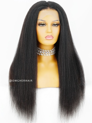 Kinky Straight Virgin Brazilian Human Hair 360 Lace Wig Pre-plucked Hairline [NLW07]