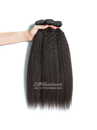 Kinky Straight Indian Remy Hair Weaves Natural Color 3pcs Bundles[IK33]