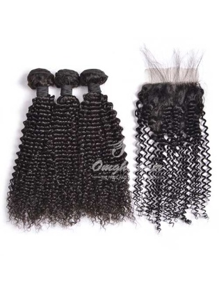 Kinky Curl Indian Remy Hair Weaves 3pcs Bundles With 4x4'' Free Part Closure[WIK30]