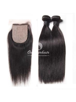 Brazilian Virgin Hair Silky Straight A 4x4'' Silk Base Closure With 2pcs Bundles [WBS21]