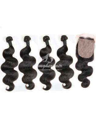 4x4'' Silk Base Closure With Virgin Brazilian Hair Weaves Body Wave 4pcs Bundles [WBB44]