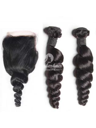 Peruvian Virgin Hair Loose Wave A 4x4'' Silk Base Closure With 2pcs Bundles[WPL24]
