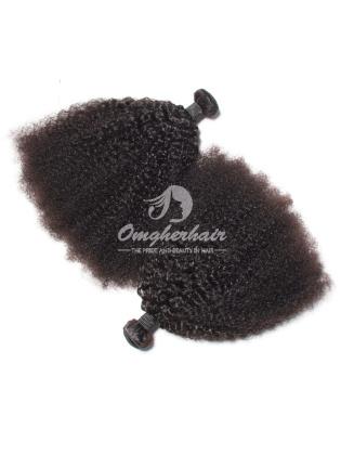 Brazilian Virgin Hair Weaves Afro Kinky Curl 2pcs Bundles Natural Color [BAF02]