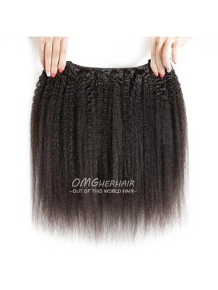 Kinky Straight Indian Remy Hair Weaves Natural Color 4pcs Bundles [IK44]