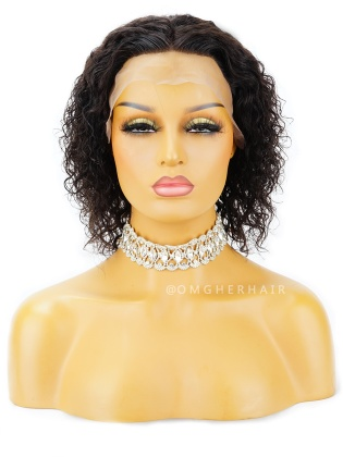 Special Offer- #1B & 8 Inch Loose Curly 4.5in Parting Lace Front Wigs Indian Remy Human Hair [WLB09]