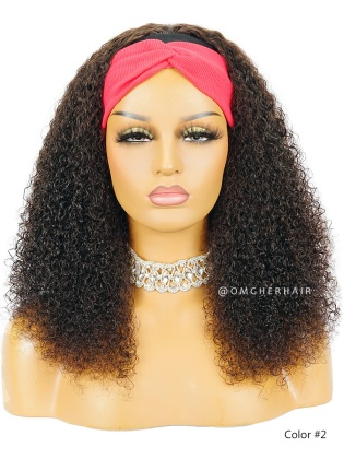 #2 Dark Brown Kinky Curl Headband Wig Indian Remy Human Hair [HBW09]