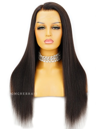 Relaxed Yaki Straight 6 Inch Parting Lace Frontal Wig Indian Remy Human Hair [ILW63]