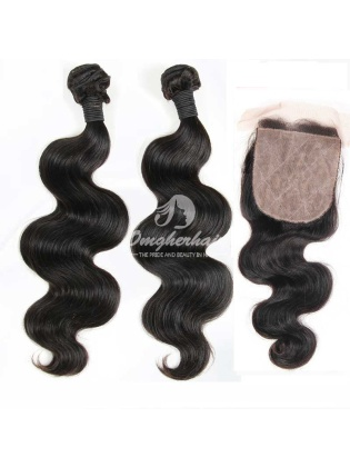 4x4'' Silk Base Closure With Virgin Brazilian Hair Weaves Body Wave 3pcs/lot [WBB24]