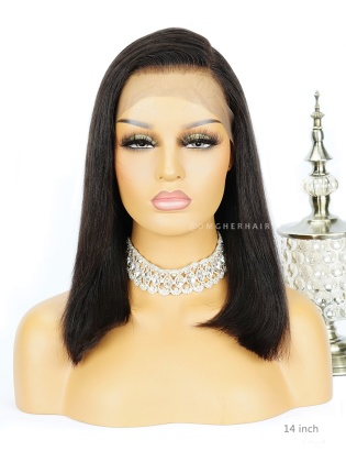 Special Offer-14 Inch Beginner Friendly Light Yaki Bob Lace Wig Pre-Plucked Hairline[CBW08]