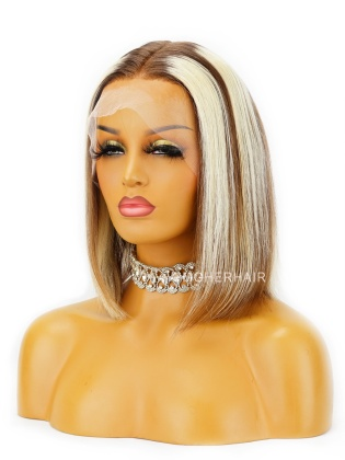 Special Offer- 12inch Highlight straight  Bob 150% Density Lace Wig Indian Remy Hair[CBW25]