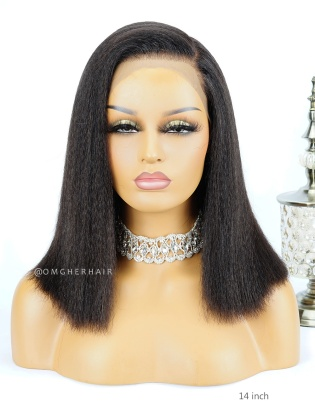 Blow Out Kinky Straight Bob Lace Wig Indian Remy Hair Pre-Plucked Hairline [BOB17]