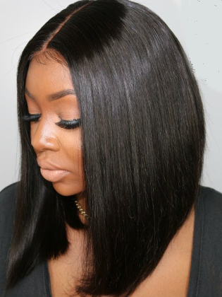 Silky Straight Blunt Cut Bob Lace Wig Indian Remy Hair [Ashley002]