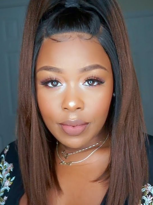 Ombre Light Yaki Bob Style Lace Front Wig Indian Remy Hair [Dominique003]
