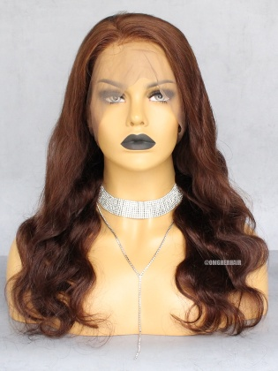 Special Offer-Light Brown #4 Body Wave Indian Remy Human Hair 360 Pre-Plucked Hairline Lace Wig [CX21]